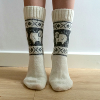READY TO SHIP White Wool Socks Ram Sheep Christmas Winter Nordic Fair isle