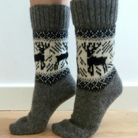 READY TO SHIP Wool Socks Grey Reindeer Buck Deer Grey White Christmas Norwegian