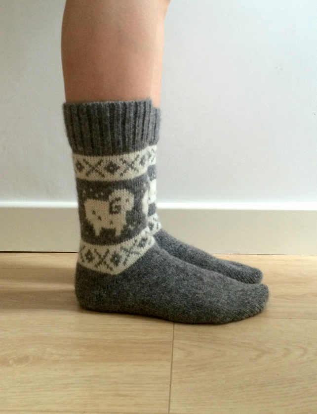 READy TO SHIP Grey Wool Socks White Ram Sheep Aries FairIsle Scandinavian Winter