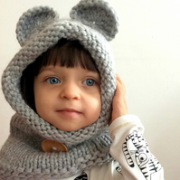 Light Grey Wool Bear Ears Snood Hooded Cowl Hat Hood Neck Warmer Scarf for Kids