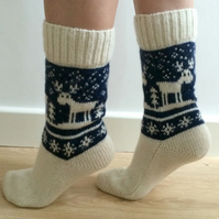 READY TO SHIP White Wool Socks Navy Blue Reindeer Christmas Scandinavian