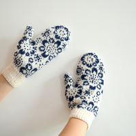 White Wool Mittens Floral Navy Flowers Snowflake Winter Christmas