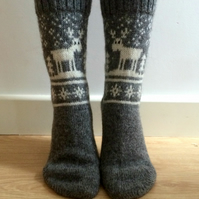 READY TO SHIP Grey Wool Socks White Reindeer Deer Buck Christmas Nordic