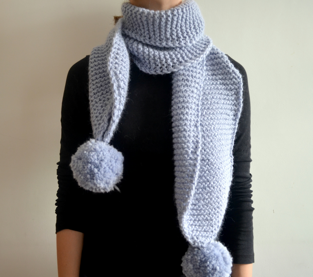 READY TO SHIP The Pom. Large Oversized Super Chunky Alpaca Wool Scarf Pompoms