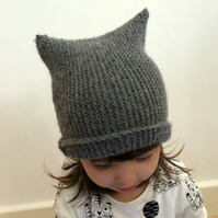 Kids Kitten Ears Hat Beanie Grey Alpaca