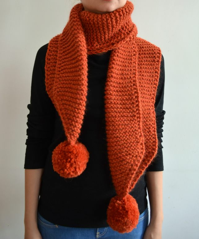 The Pom. Large Oversized Super Chunky Alpaca Wool Scarf with Pompoms. Orange