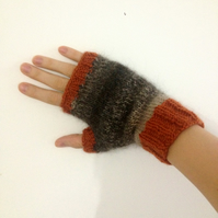 READY TO SHIP Luxury Alpaca Merino Fingerless Gloves Mittens Orange Brown Grey