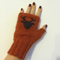 READY TO SHIP Hand Knitted Orange Wool Fingerless Gloves Brown Reindeer Elk