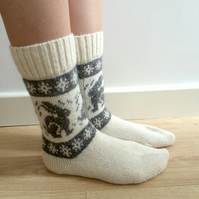 READY TO SHIP White Wool Socks Grey Rabbit Bunny Hare Fairisle Christmas