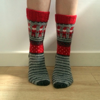 Hand knitted wool socks Christmas Elf Elves Winter Scandinavian Fair Isle Nordic