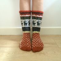 Hand knitted wool socks reindeer colourful winter christmas fairisle nordic
