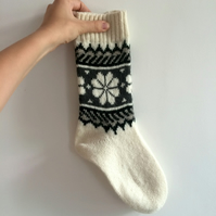 Ready to Ship White Grey Wool Socks Floral Flower Fair Isle Traditional Nordic