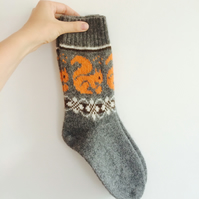 READY TO SHIP Grey wool socks orange squirrel fair isle autumn winter