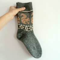 READY TO SHIP Grey wool socks pale orange beige squirrel fair isle autumn winter