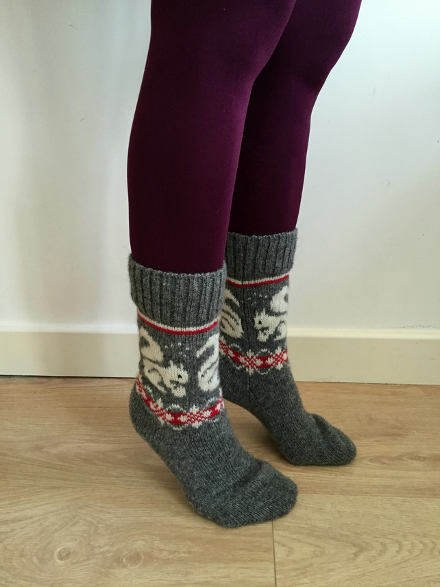READY TO SHIP Grey Wool Socks White Squirrel Red Farisle Winter Christmas Nordic
