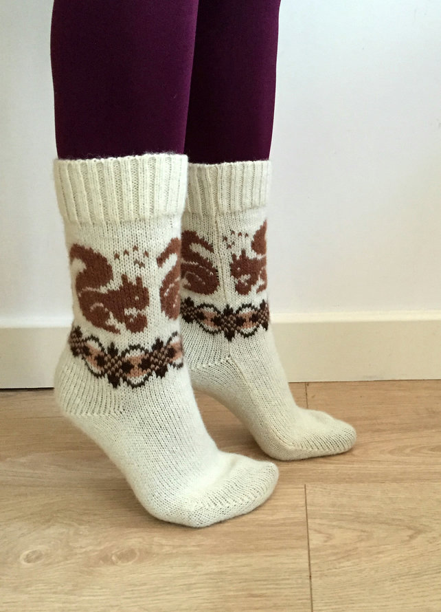 READY TO SHIP White wool knitted socks brown squirrels fair isle patterned fall