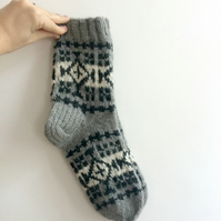 Ready to ship Thick Mens Socks Grey White Black Patterned Fair isle