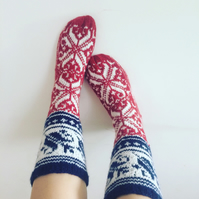 Hand Knitted Wool Socks Blue Red White Norwegian Floral Fair Isle Christmas