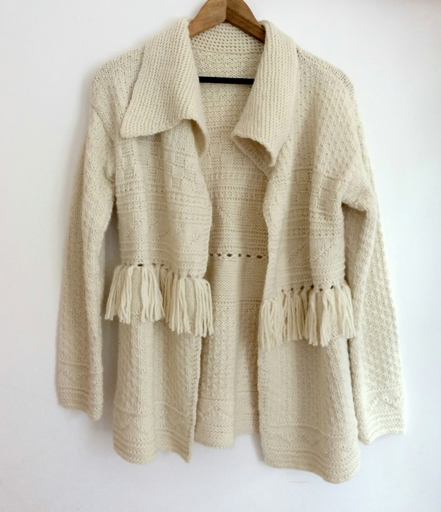 Hand Knitted Chunky Wool Alpaca Jacket Cardigan with Textured Patterns Fringing