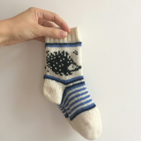 READY TO SHIP Children Kids Socks White Wool Hedgehog Blue White Fair Isle