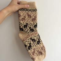 READY TO SHIP Beige Wool Socks Black and Brown Cats Kittens Fair Isle Christmas