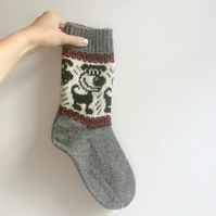 READY TO SHIP knitted grey wool socks funny dog puppy fair isle christmas