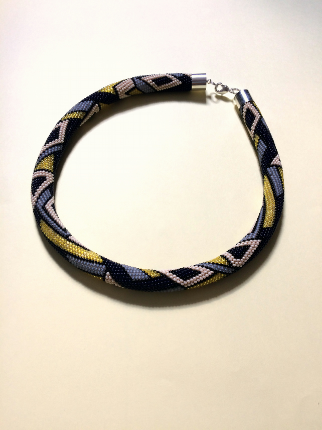 FREE SHIPPING Crochet Seed Bead Rope Necklace Yellow Blue White Geometrical