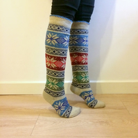 Long Knee length Wool Socks Fair isle, Christmas Star, Nordic, Scandinavian