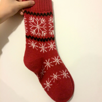 Warm Knitted Wool Socks Scandinavian Norwegian Christmas Winter Red White Snowfl