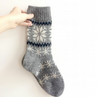 Warm Knitted Wool Socks Scandinavian Norwegian Christmas Winter Grey White