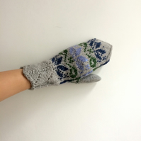 READY TO SHIP Hand Knit Wool Mittens Fair Isle Light Grey Purple Blue Green