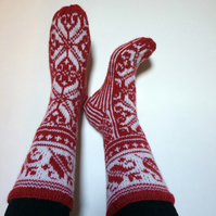 Hand-knitted Red White Wool Socks Scandinavian Floral Christmas