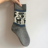 READY TO SHIP knitted grey wool socks funny dog puppy scandinavian christmas