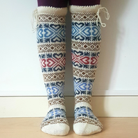 READY TO SHIP  wool socks stockings colorful traditional nordic heart fair isle
