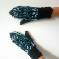 READY TO SHIP Knitted Wool Black Blue Mittens Floral Fair Isle Winter Christmas