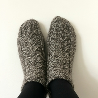 Luxury Wool Socks Slippers with Cables Grey Brown