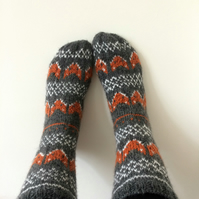 READY TO SHIP Hand Knit Wool Socks Fox Socks Foxy Grey Orange White Fair Isle