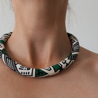 FREE SHIPPING Crochet Seed Bead Rope Necklace White Green Black Geometrical