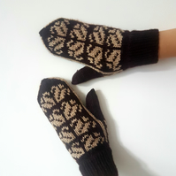 READY TO SHIP Hand Knit Wool Mittens Brown Fair Isle Winter Nordic Scandinavian