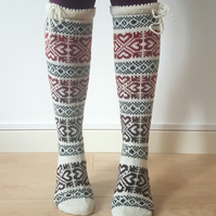 READY TO SHIP Knee Length Long Knitted Wool Socks Fair Isle Hearts White Red