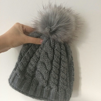 READY TO SHIP Faux Fur Pom Pom Knitted Wool Hat Dark Grey Cables Cabled Beanie