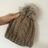 READY TO SHIP Faux Fur Pom Pom Knitted Wool Bobble Hat Light Brown Beige Beanie