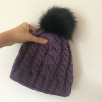 READY TO SHIP Faux Fur Pom Pom Knitted Wool Hat Dark Purple Cables Cabled Beanie
