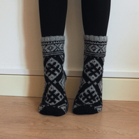 Hand Knit Wool Grey Black Socks Scandinavian Baltic Fair Isle Patterned Winter