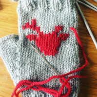 Grey Red Fingerless Mittens Gloves Scandinavian Nordic Reindeer Deer Buck
