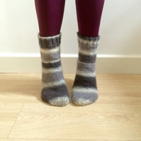 Hand knit Wool Socks Grey Black White Ombre Unisex Welly Socks