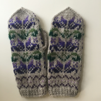 READY TO SHIP hand knit grey wool mittens purple lilac green fairisle floral