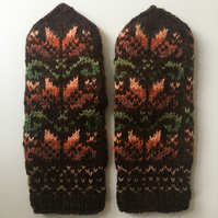 READY TO SHIP hand knitted brown orange green mittens floral fairisle nordic