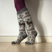 READY TO SHIP knee length wool socks stockings grey brown reindeer fairisle nord