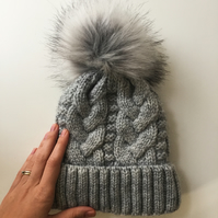READY TO SHIP Faux Fur Pom Pom Knitted Wool Hat Light Grey Cables Cabled Beanie